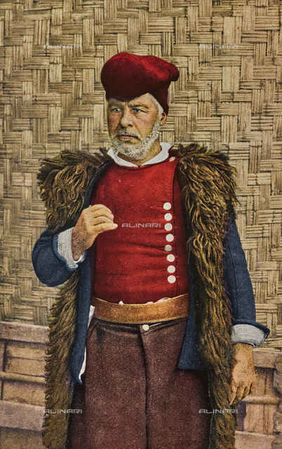 Sardinian costume - male portrait, Sant' Antioco