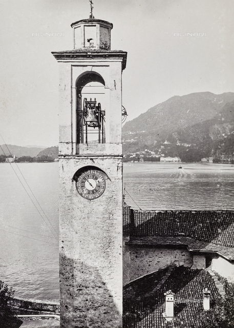 Bell tower of the church of Blevio on Lake Como