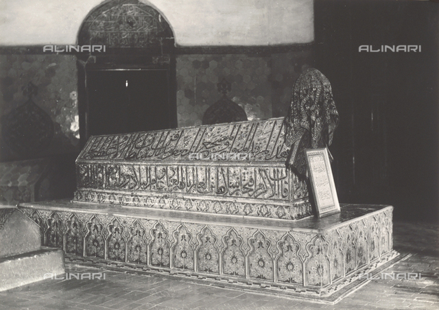 Funerary monument preserved in a mosque in Bursa, Turkey
