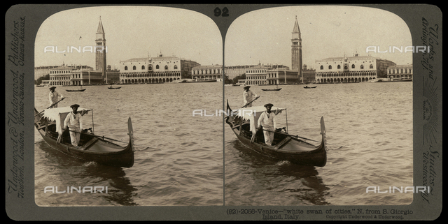 Portrait of gondoliers in the Bacino of S. Marco; Stereoscopic photograph