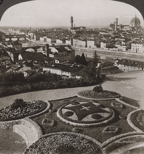 Florence seen from Piazzale Michelangelo; Stereoscopic photograph