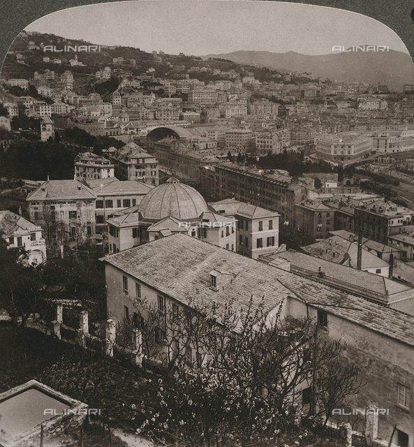 Panoramic view of Genoa; Stereoscopic photograph