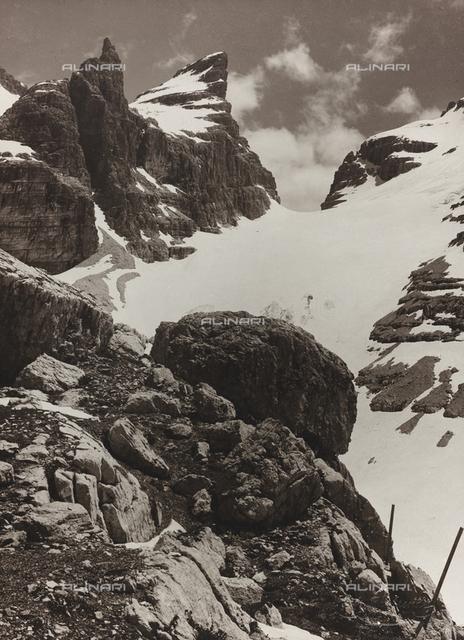 View of the Tuckett pass from the Rifugio Tuckett, in the Brenta Group