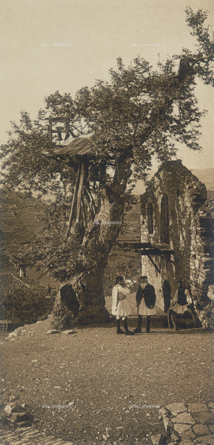 """En Grèce par monts et par vaux"" (""In Greece Through Mountains and Valleys""): rustic belltower in Andrytsena"
