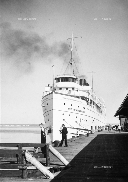 The ship South America in the port of Mackinac Island, Michigan