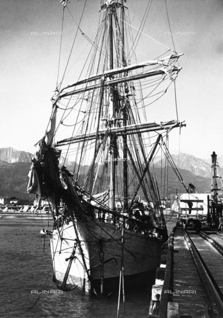 Ship moored at the port of Portofino