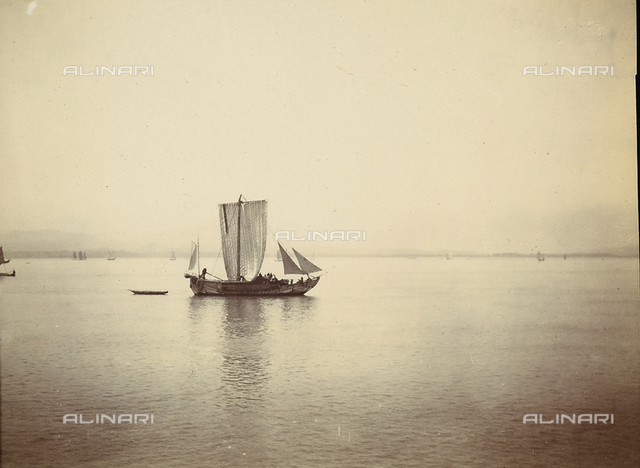 Sailing boat in a chinese bay.