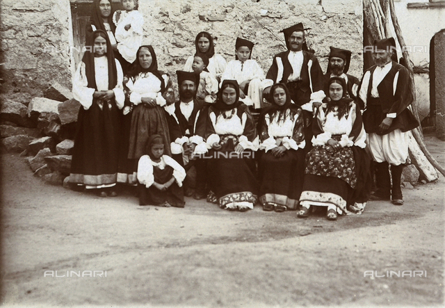 Group portrait in traditional sardinian costume