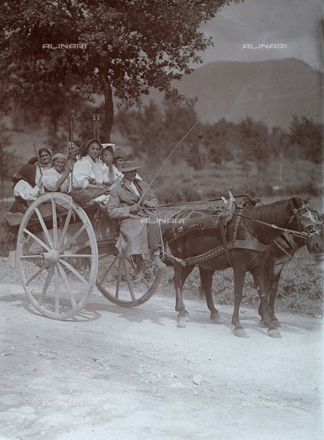 Little cart towed by two horses in Gallinaro, Frosinone