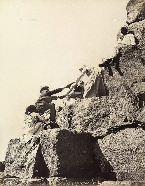 The climb of the pyramid, Egypt
