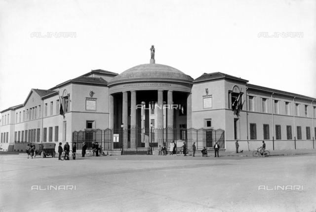 Exterior view of the Costanzo Ciano Hospital in Livorno in Leghorn