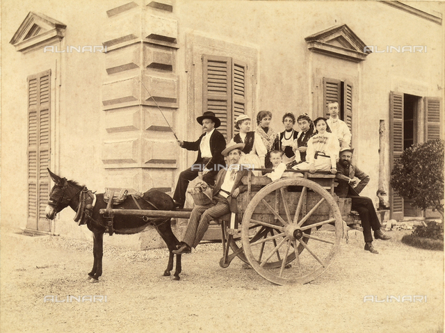Portrait of a family on a cart