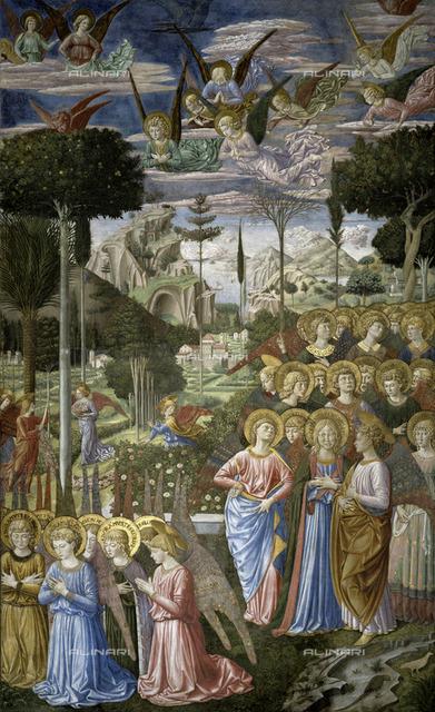 Choir of Angels (Right detail), fresco, Gozzoli Benozzo di Lese di Sandro (1420-1497), Magi Chapel, Palazzo Medici Riccardi, Florence