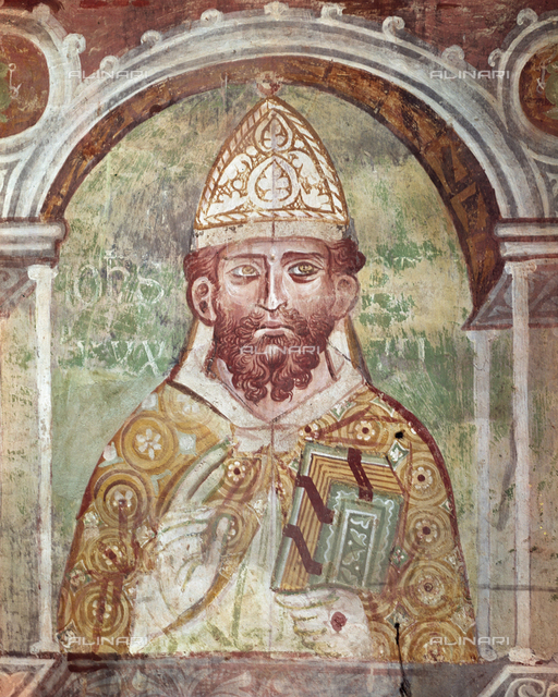 John VIII, Pope (872-882), fresco, XIII c., Orlandi, Deodato, Church of Saint Pietro in Grado, Pisa