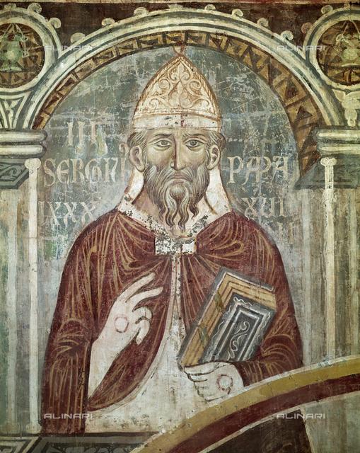 St. Sergius III, Pope (904-911), fresco, XIII c., Orlandi, Deodato, Church of Saint Pietro in Grado, Pisa