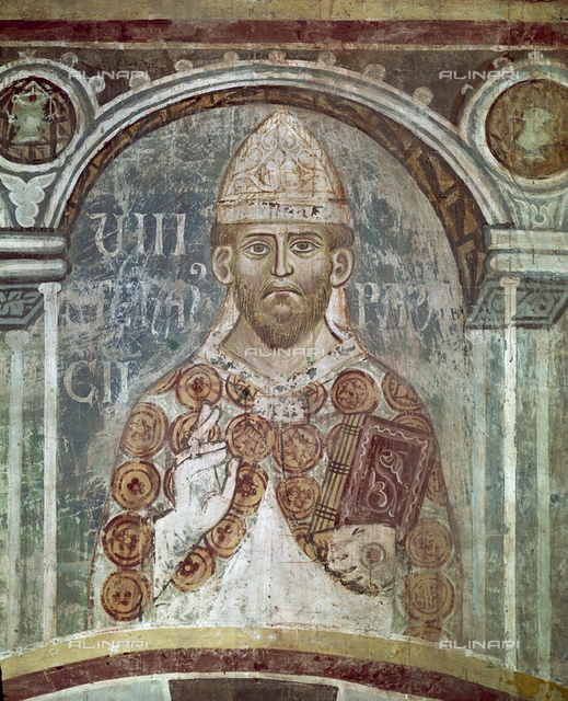 Stephen VII (VIII), Pope (929-931), fresco, XIII c., Orlandi, Deodato, Church of Saint Pietro in Grado, Pisa