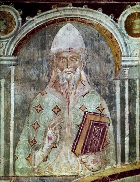 Stephen VIII (IX), Pope (939-942), fresco, XIII c., Orlandi, Deodato, Church of Saint Pietro in Grado, Pisa