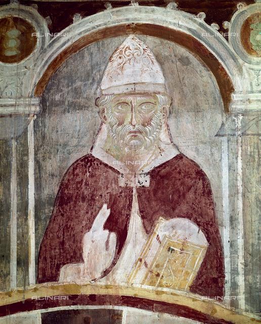San Marino II, Pope (942-956), fresco, XIII c., Orlandi, Deodato, Church of Saint Pietro in Grado, Pisa