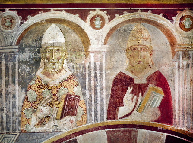 John XV, Pope (985-996) Gregory V, Pope (996-999), fresco, XIII c., Orlandi, Deodato, Church of Saint Pietro in Grado, Pisa