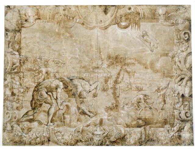 The Summer Arch. N. 613 F, design, Salviati, Francesco De' Rossi, said Cecchino Salviati (Florence 1510-Rome 1563), Uffizi Gallery, Cabinet of Drawings and Prints, Florence