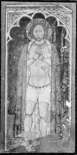Objects of Florentine villas in auction: St. Martyr, detached fresco n. Cat. 891, fresco, XIV-XV century, Tuscan School, Company San Marco, Via delle Belle Donne, Florence