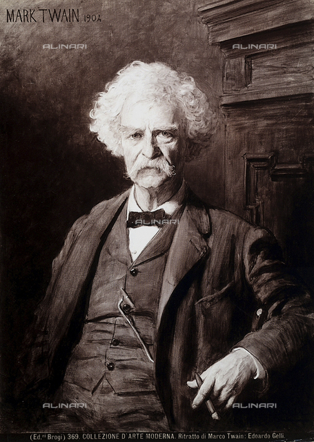 Portrait of Mark Twain by Edoardo Gelli; the Gallery of Modern Art, Pitti Palace, Florence.