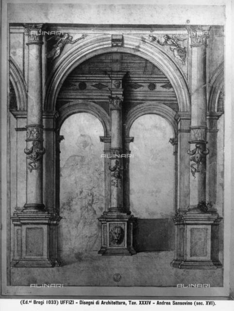 Project of architecture, Andrea di Niccolo said Sansovino (1467-1529), Cabinet of Drawings and Prints, The Uffizi Gallery, Florence