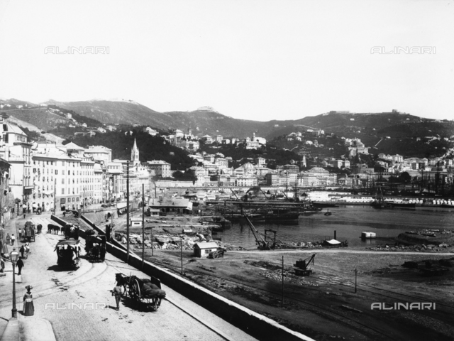 Panoramic view of Genoa and its port