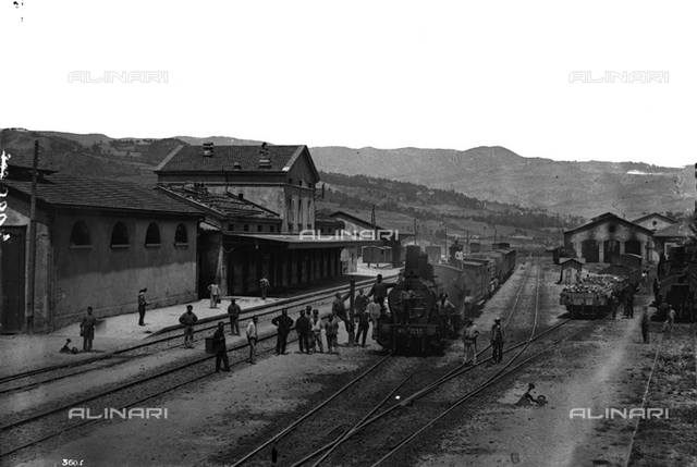 Train pulling into the station of Porretta Terme