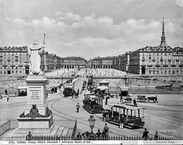 Piazza Vittorio Emanuele (now Piazza Vittorio Veneto) view from the Gran Madre di Dio in Turin