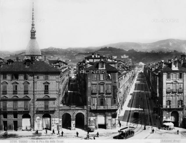 Busy view of Via di Po and Via della Zecca, Turin. On the left is the Antonellian mass.