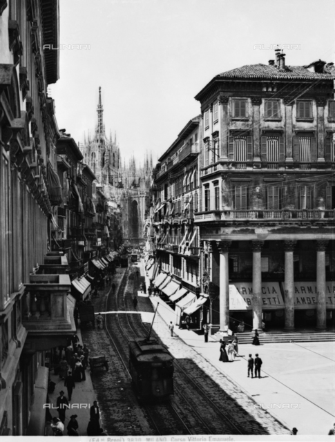 Busy view of Corso Vittorio Emanuele II in Milan with the Cathedral in the background