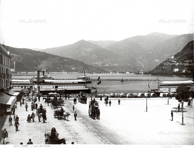 View of Como's port with mountains in the background.