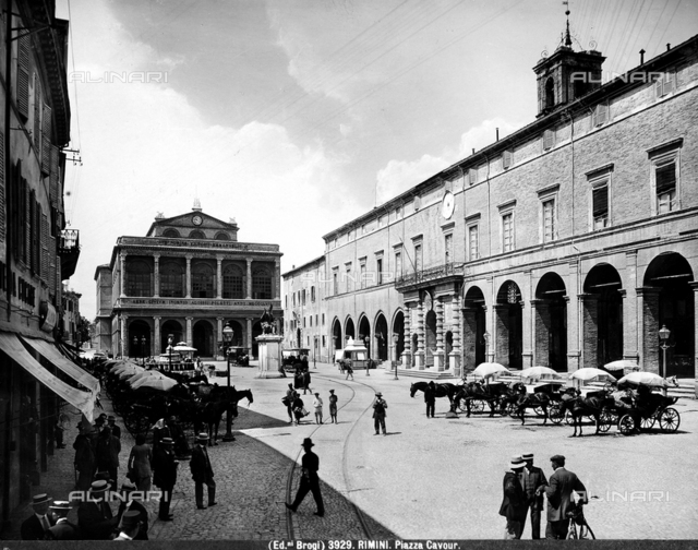 View of Piazza Cavour in Rimini. In the background, the nineteenth century Amintore Galli Theater, inaugurated in 1857