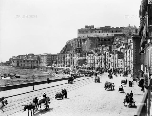 View of Via Santa Lucia and the Castel dell'Ovo in Naples