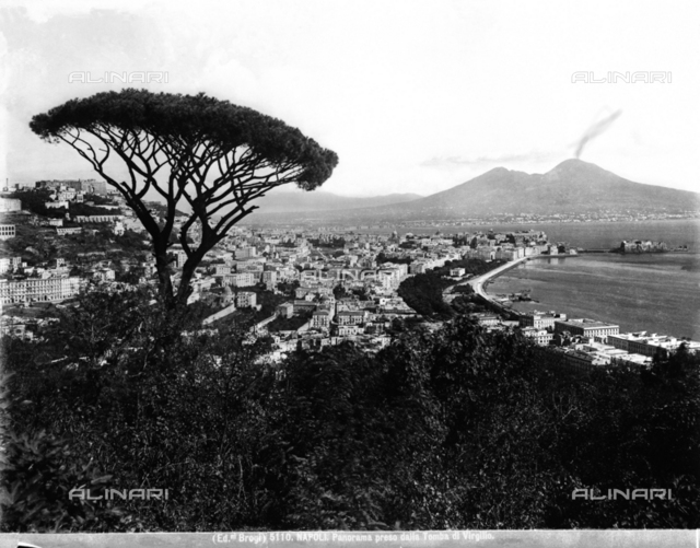 View of the Gulf and the city of Naples with Vesuvius in the background.