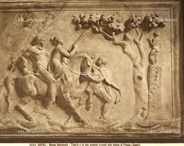 Bas-relief representing Tiberius and his lover before the statue of Priapus, National Archaeological Museum, Naples.
