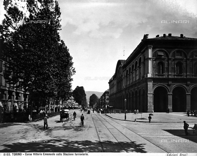 View of Corso Vittorio Emanuele II and part of the Porta Nuova station. Turin