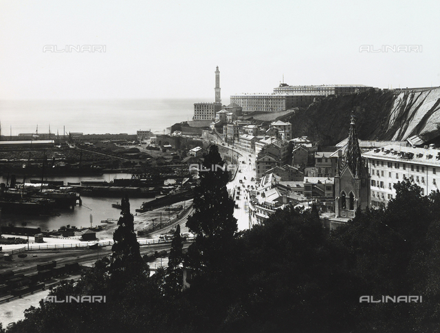 View of Genoa and its port.