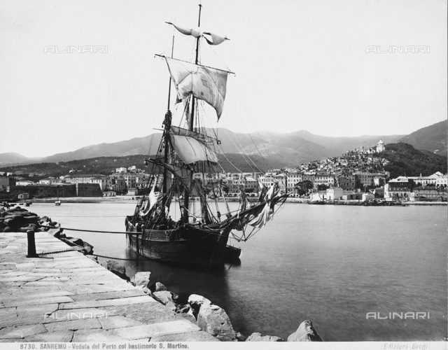 View of the port of San Remo with the San Martino ship.