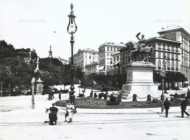 Piazza Corvetto, in Genoa, with the equestrian monument to Victor Emmanuel II in the center