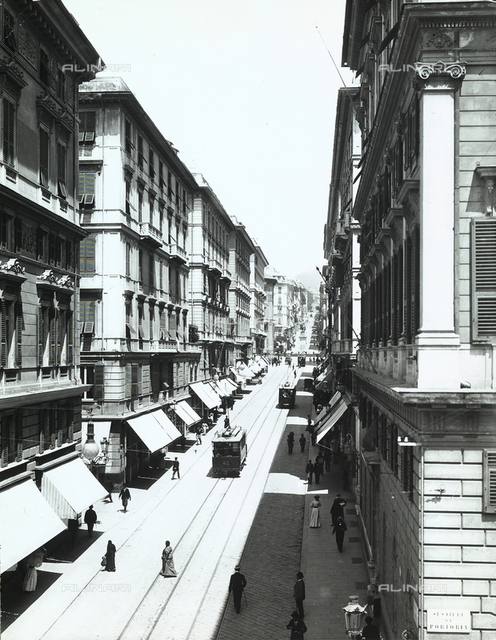 Trams and pedestrians on Via Roma, in Genoa