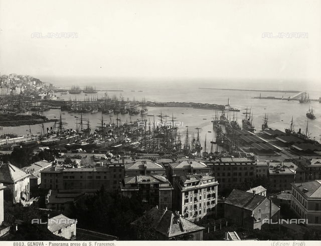 View of Genoa's port from San Francesco