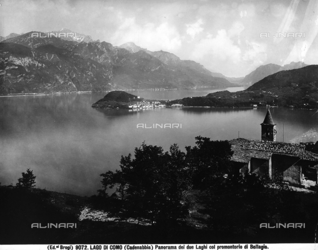 Panorama of the lake of Como taken from Cadenabbia. In the foreground is a view of the two Lakes with the Bellagio promontory.