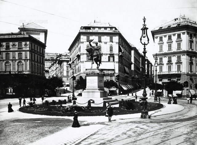 The equestrian monument to Victor Emmanuel II, in Piazza Corvetto in Genoa
