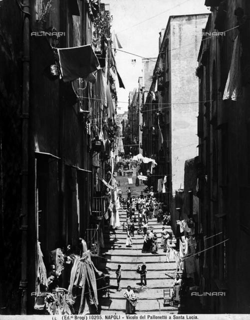 View of the Vicolo del Pallonetto in the Santa Lucia neighborhood of Naples.