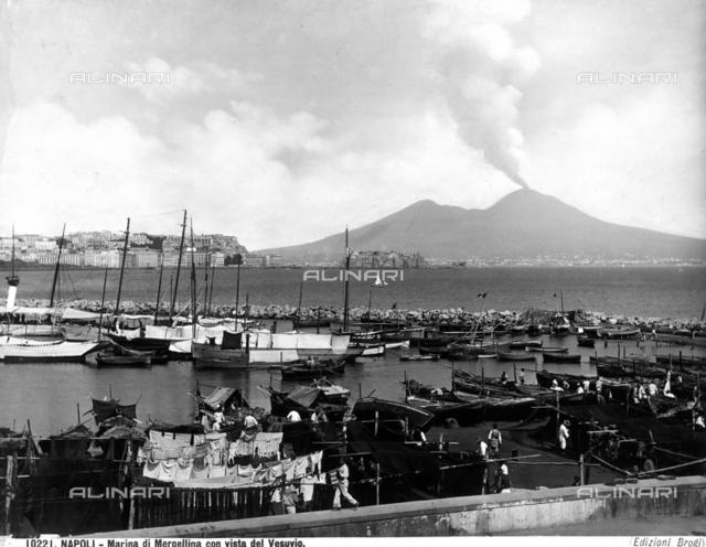Mergellina Marina with view of Vesuvius.