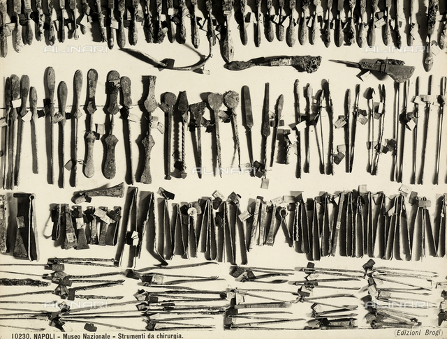 Surgical instruments, located at the National Archaeological Museum in Naples.