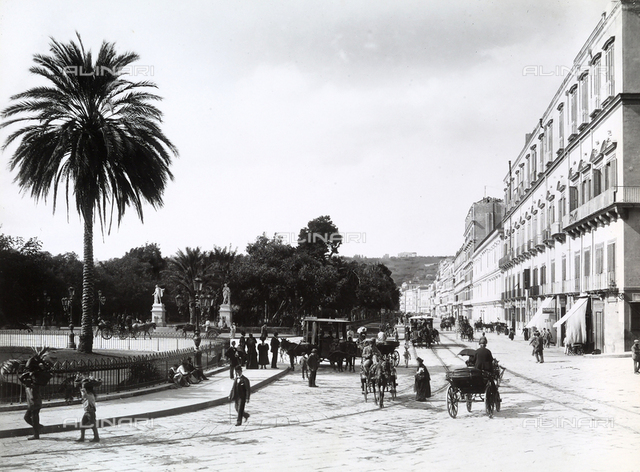 Riviera di Chiaia in Naples with a view of the Villa Comunale.