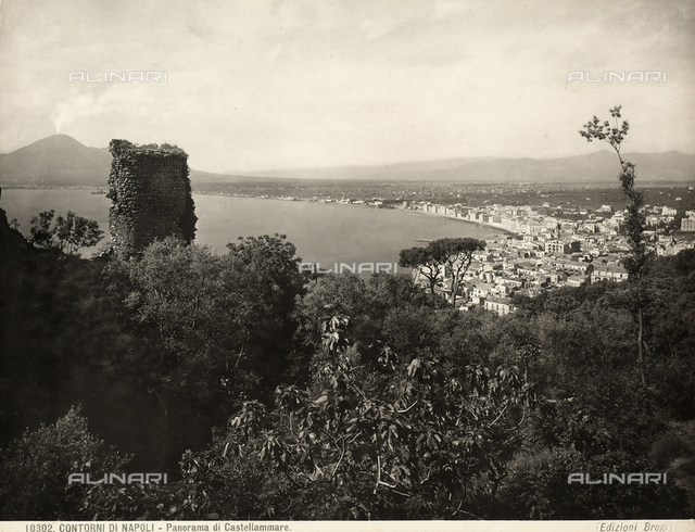 View of Castellammare di Stabia near Naples with the ruins of an ancient tower in the foreground.